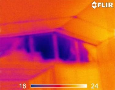 Moisture Intrusion Infrared (IR) Thermal Imaging Image | Infrared (IR) Thermal Imaging | 360 Inspection Services